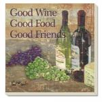 Counter Art Good Wine Good Friends Coasters Set of 4