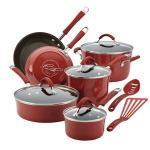 Rachael Ray 12-Pc Cucina Porcelain Aluminum Cookware Set (Cranberry Red)