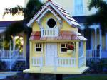 Home Bazaar Birds of a Feather Series Backyard Bird Cottage (Yellow)
