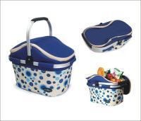 Picnic & Beyond Aluminum Framed Blue Empty Picnic Cooler Basket