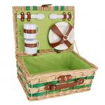 Picnic and Beyond Willow Picnic Basket for Two, Honey & Green