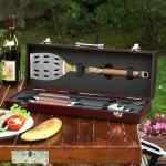 Picnic at Ascot Forged 3-Piece BBQ Tool Set with Rosewood Handles in Wood Carry Case