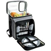 Picnic at Ascot Insulated Picnic Basket/Cooler Fully Equipped with Service for 2 - Houndstooth