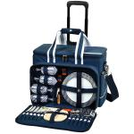 Picnic at Ascot- Ultimate Insulated Picnic Cooler on Wheels with Service for 4. Navy