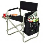 Picnic at Ascot Folding Directors Chair with Table & Removable Cooler - Black