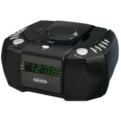 jensen am fm stereo dual alarm clock radio with top loading cd player. Black Bedroom Furniture Sets. Home Design Ideas