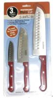Master Chef 3 Piece Stainless Steel All Purpose Santoku Knives - Red