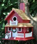 Home Bazaar Christmas Cottage Birdhouse (Red)