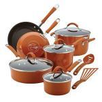 Rachael Ray 12-Pc Cucina Porcelain Aluminum Cookware Set (Pumpkin Orange)