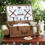 Picnic at Ascot Dorset English-Style Willow Picnic Basket with Service for 4 & Blanket - Gazebo