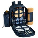 Deluxe Equipped 2 Person Picnic Backpack w/Blanket - Trellis Blue