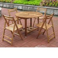 Merry Products Round Folding Table Set with 4 Chairs