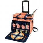 Picnic at Ascot Deluxe Picnic Cooler For Four On Wheels - Diamond Orange