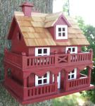 Home Bazaar Classic Series Novelty Cottage Birdhouse (Red)