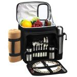 Picnic at Ascot Insulated Picnic Basket/Cooler Fully Equipped for 2 with Coffee Service and blanket - Black/London Plaid