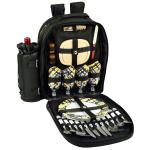 Picnic at Ascot Deluxe Equipped 4 Person Picnic Backpack - Black/Paris