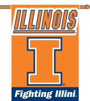 "Illinois Fighting Illini Two-Sided 28"" x 40"" Banner with Pole Sleeve"