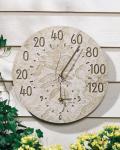 Whitehall Fossil Sumac Thermometer Clock - Weathered Limestone