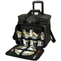 Picnic at Ascot Deluxe Picnic Cooler For Four On Wheels - Black/Paris