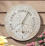 Whitehall Fossil Celestial Thermometer Clock - Weathered Limestone