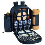 Deluxe Equipped 4 Person Picnic Backpack w/Blanket - Trellis Blue