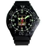 AquaForce U.S Army, Black Dial, Black Case, Date, PU Rubber Strap