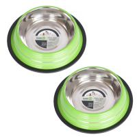 2 Pack Color Splash Stripe Non-Skid Pet Bowl for Dog or Cat - Green - 24 oz - 3 cup