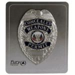 Fury Sporting Cutlery Concealed Weapons Permit Badge, Silver