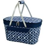 Picnic at Ascot Stylish Insulated Market Basket / Picnic Tote with Sewn in Aluminum Frame - Trellis Blue