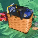 Peterboro Basket Co. Classic Honey Color Beach Tote w/Black Leather Handles