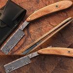 Custom Made Damascus Steel Straight Razor w/ Olive Wood Handle & Sheath