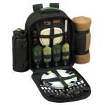 Deluxe Equipped 4 Person Picnic Backpack w/Blanket - Forest Green