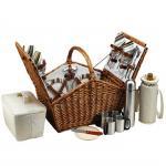 Picnic at Ascot Huntsman English-Style Willow Picnic Basket with Service for 4 and Coffee Set - Santa Cruz