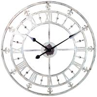 White Rustic Country Style Tower Clock with Fleur-de-lis