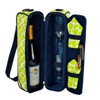 Picnic at Ascot Deluxe Insulated Wine Tote with 2 Wine Glasses, Napkins and Corkscrew - Trellis Green