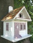 Home Bazaar Shotgun Cottage Birdhouse White w/Lavender