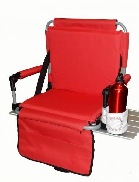 Pacific Import Pacific Import Bleacher Bum Stadium Seat w/ Embroidered Baseball Drink Holder, Red