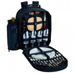 Picnic at Ascot - Deluxe Equipped 4 Person Picnic Backpack with Cooler & Insulated Wine Holder - Chevron Blue