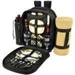 Picnic at Ascot - Deluxe Equipped 2 Person Picnic Backpack with Cooler, Insulated Wine Holder & Blanket - Black /Paris