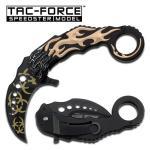 Tac-Force Tan Flaming Skull Spring Assisted Karambit Knife