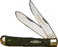 "Winchester 2 3/4"" 2-Blade Peanut Pen Knife with Black Jigged Delrin Handle"