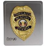 Fury Sporting Cutlery Weapons Permit Badge, Gold