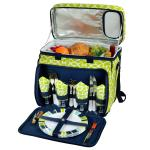 Picnic at Ascot Equipped Insulated Picnic Cooler with Service for 4 - Trellis Green