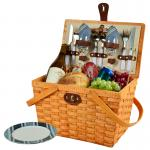 Picnic at Ascot Frisco Traditional American Style Picnic Basket with Service for 2 - Honey, Aegean
