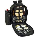 Picnic at Ascot Deluxe Equipped 2 Person Picnic Backpack- Black /Paris