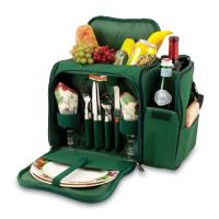 Picnic Time Malibu Shoulder Pack w/ Deluxe Picnic Service for 2, Hunter Green