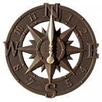 Whitehall Compass Rose Clock - Bronze Verdi