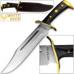 White Deer magnum XXL Large Bowie Knife with Leather Sheath
