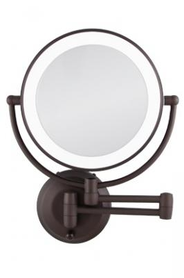 Zadro 10x 1x Oil Rubbed Bronze Round Led Lighted Wall Mirror