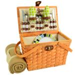 Picnic at Ascot Frisco Traditional American Style Picnic Basket Equipped for 2 w/Blanket, Trellis Green
